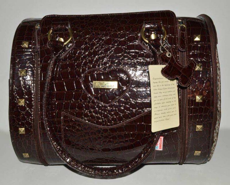 Barna lakk kigyóbőr mintás kutyahordozó táska 1