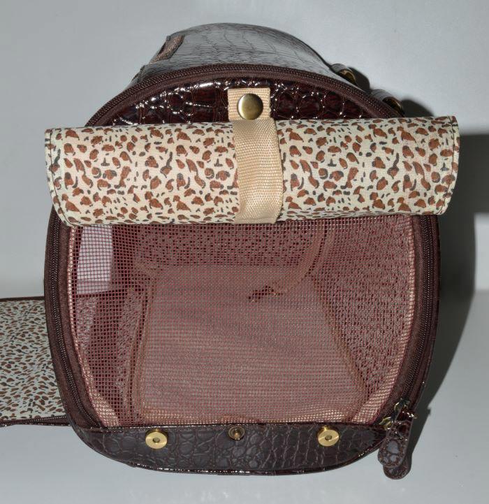 Barna lakk kigyóbőr mintás kutyahordozó táska 2