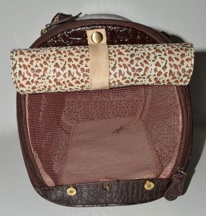 Barna lakk kigyóbőr mintás kutyahordozó táska 3