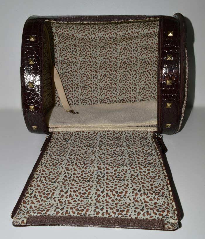 Barna lakk kigyóbőr mintás kutyahordozó táska 4