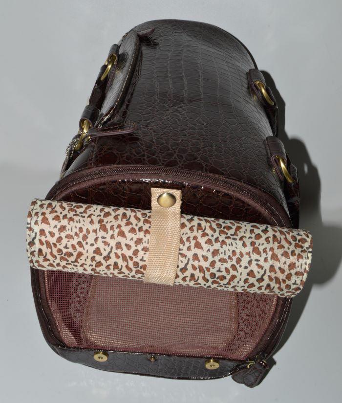 Barna lakk kigyóbőr mintás kutyahordozó táska 5