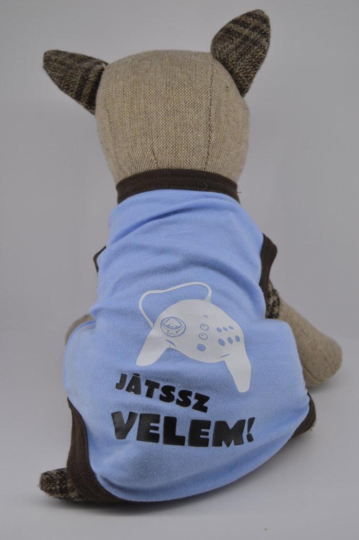 Játsz velem feliratos vkék kutya póló 1