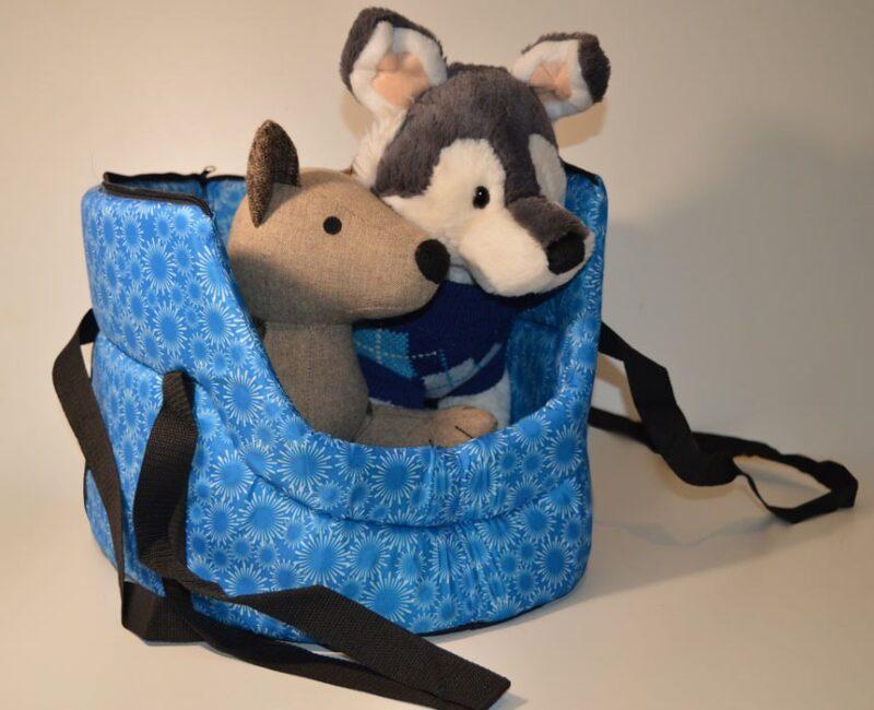 Kék mosható fehér virág mintás kutyahordozó táska 1