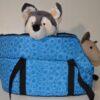 Kék mosható fehér virág mintás kutyahordozó táska 2