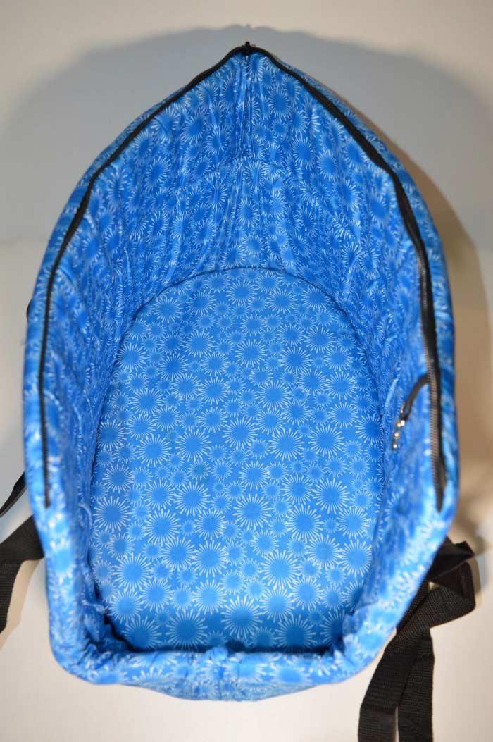 Kék mosható fehér virág mintás kutyahordozó táska 3