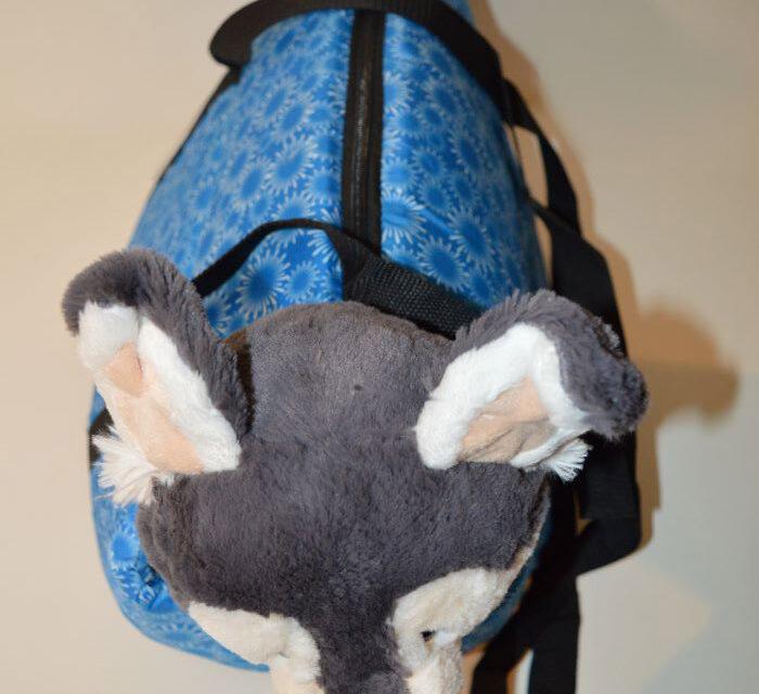 Kék mosható fehér virág mintás kutyahordozó táska 4