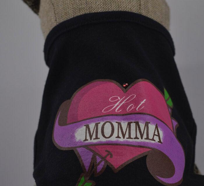 Momma feliratos fekete kutya póló 1