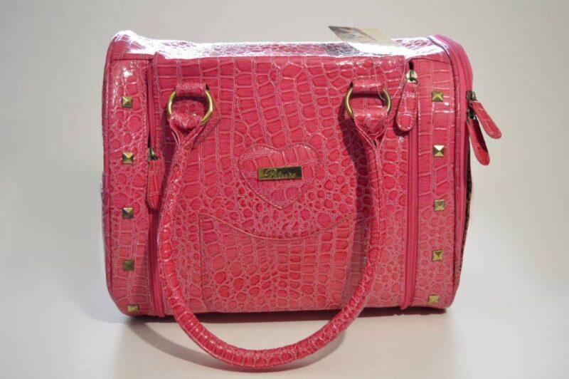 Pink lakk kigyóbőr mintás kutyahordozó táska 1