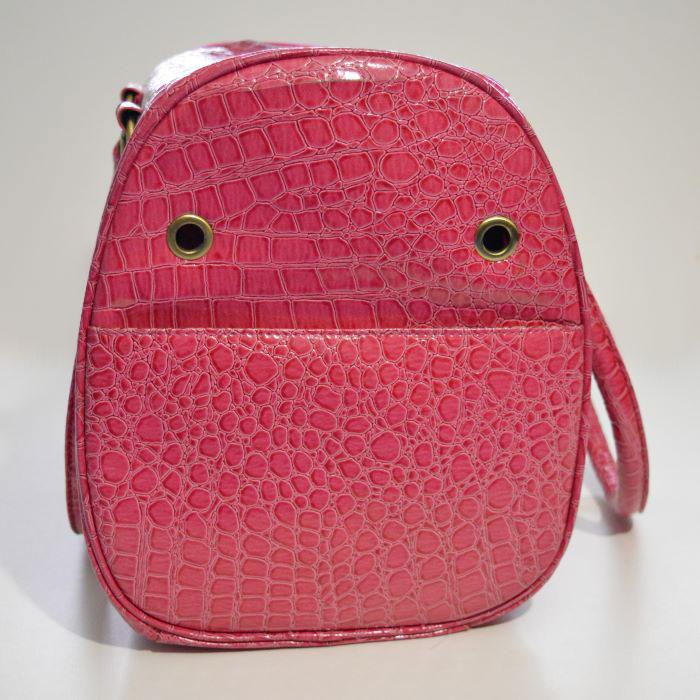 Pink lakk kigyóbőr mintás kutyahordozó táska 2