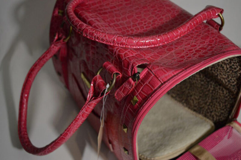 Pink lakk kigyóbőr mintás kutyahordozó táska 3