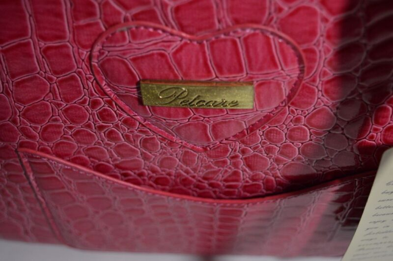 Pink lakk kigyóbőr mintás kutyahordozó táska 4