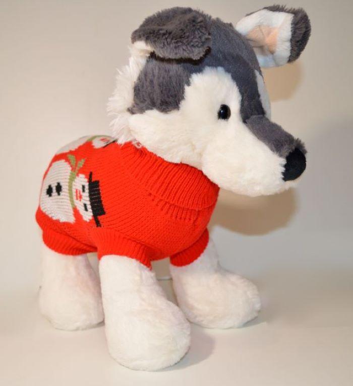 Piros hóemberes kötött kutyaruha 1