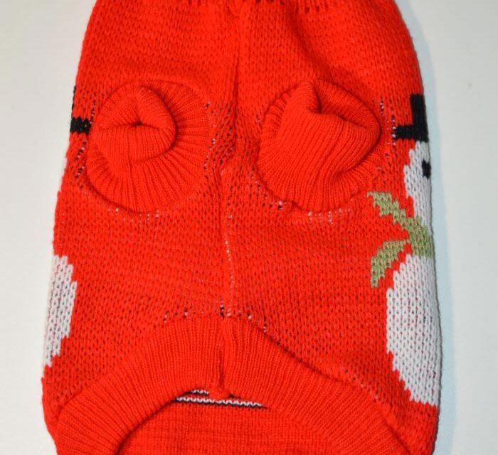Piros hóemberes kötött kutyaruha 2