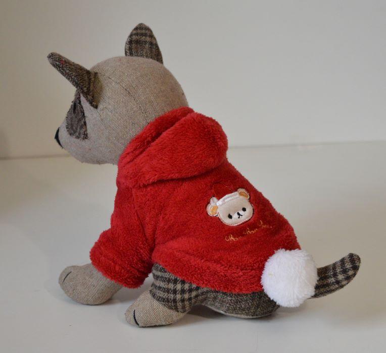 Piros kapucnis kutyaruha fehér pomponnal 1