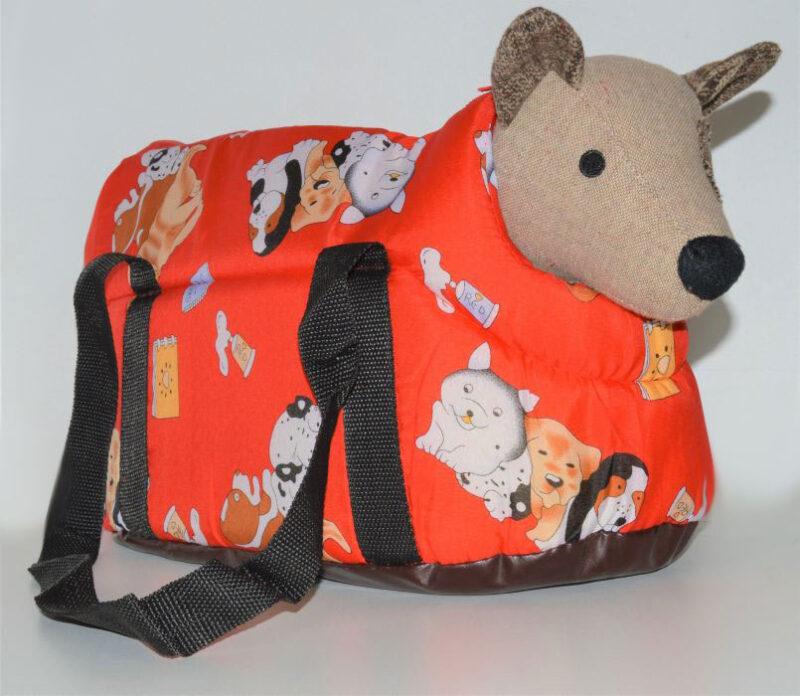 Piros kutya mintás mosható kutyahordozó táska 2