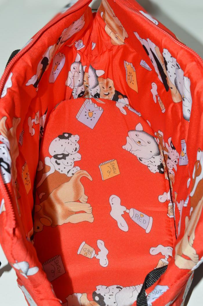 Piros kutya mintás mosható kutyahordozó táska 3