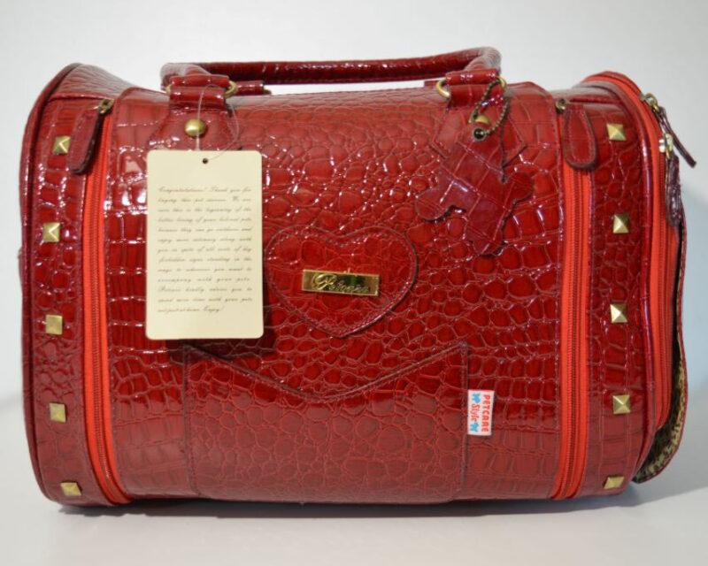 Piros lakk kigyóbőr mintás kutyahordozó táska 1