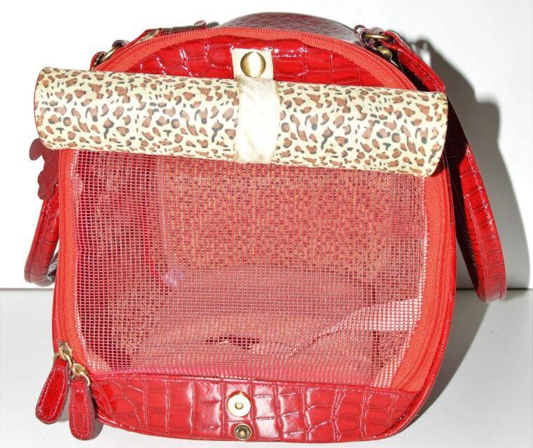 Piros lakk kigyóbőr mintás kutyahordozó táska 4