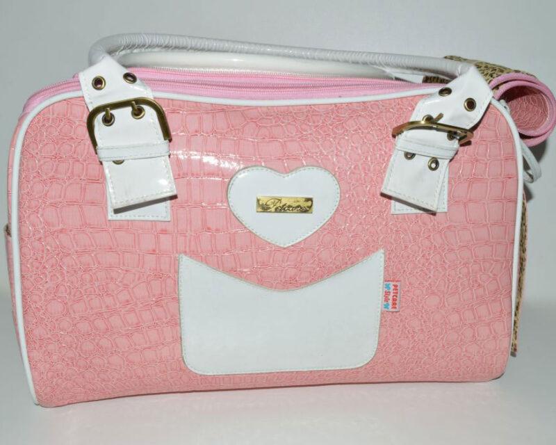 Rózsaszín fehér kigyóbőr mintás kutyahordozó táska 1