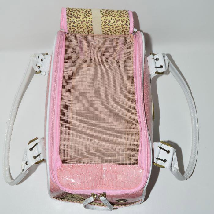 Rózsaszín fehér kigyóbőr mintás kutyahordozó táska 2