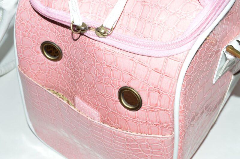 Rózsaszín fehér kigyóbőr mintás kutyahordozó táska 3