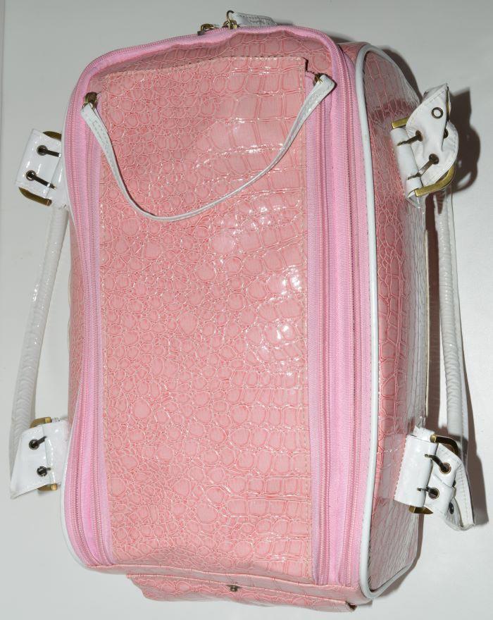 Rózsaszín fehér kigyóbőr mintás kutyahordozó táska 4