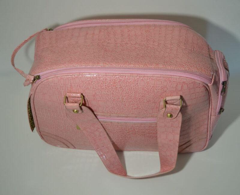 Rózsaszín lakkozott kígyóbőr mintás kutyahordozó táska 1