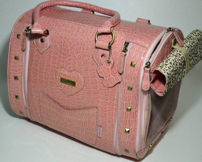 Rózsaszín lakkozott kigyóbőr mintás kutyahordozó táska 2 1