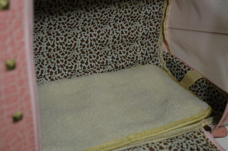 Rózsaszín lakkozott kigyóbőr mintás kutyahordozó táska 2 4