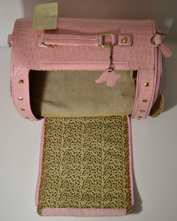 Rózsaszín lakkozott kígyóbőr mintás kutyahordozó táska 3