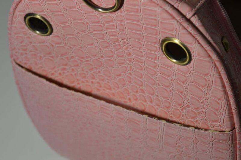 Rózsaszín lakkozott kígyóbőr mintás kutyahordozó táska 4