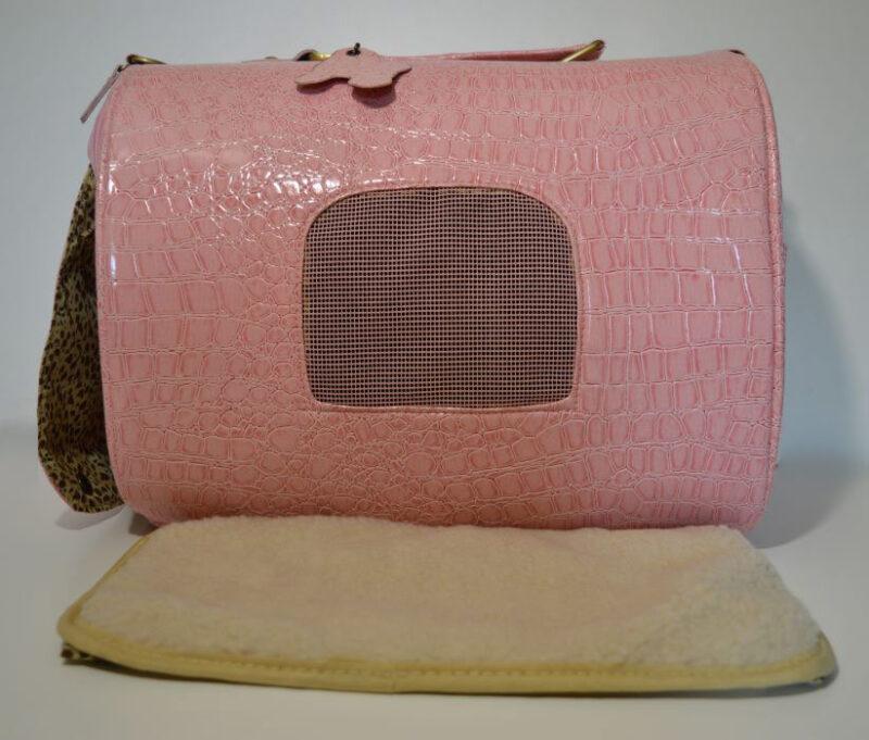 Rózsaszín lakkozott kígyóbőr mintás kutyahordozó táska 6