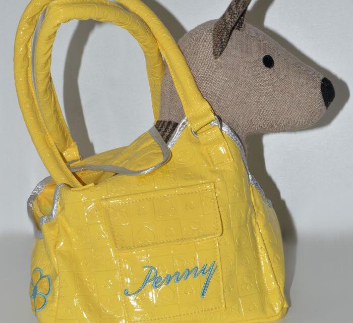 Sárga műbőr kutyahordozó táska kisméretű kutyáknak 1