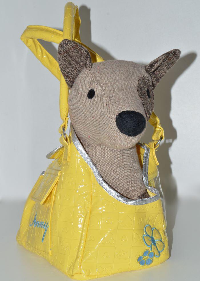Sárga műbőr kutyahordozó táska kisméretű kutyáknak 2