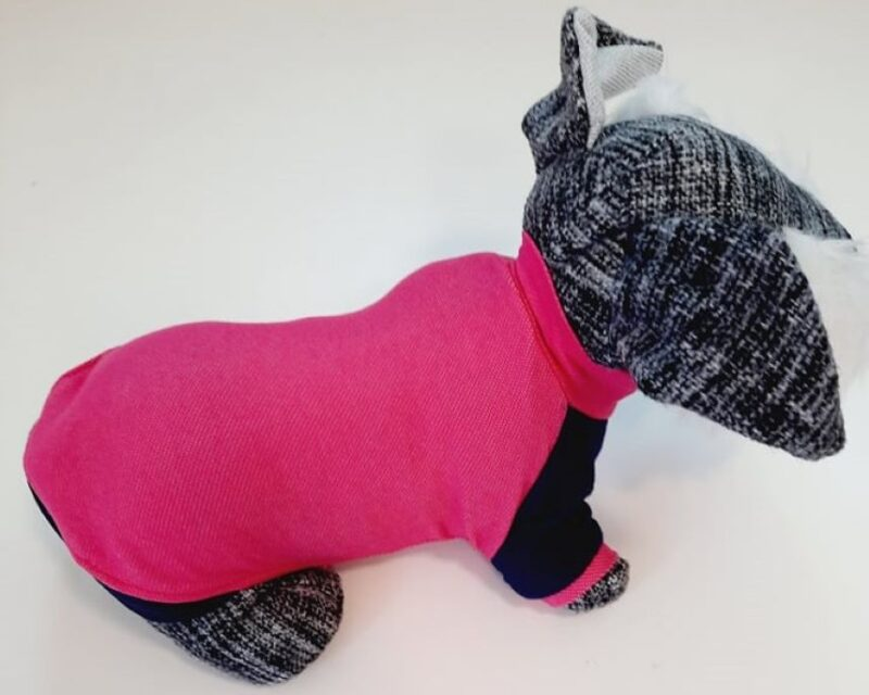 Pink kutyapulóver kék ujjakkal 1