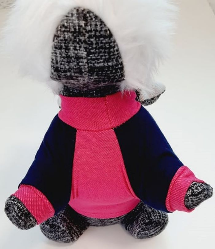 Pink kutyapulóver kék ujjakkal 3