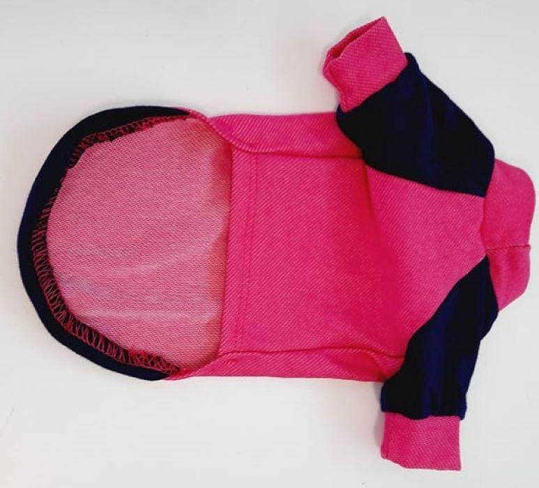 Pink kutyapulóver kék ujjakkal 4