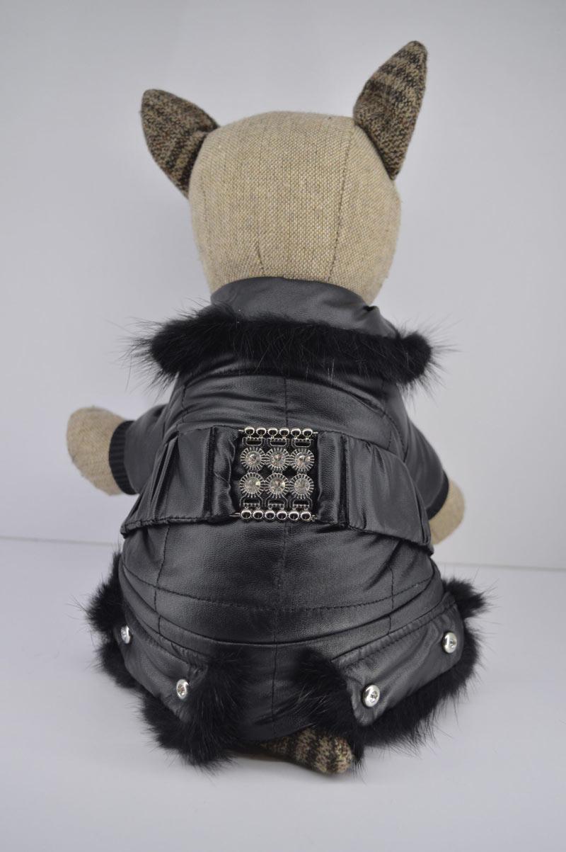 Alkalmi fekete műbőr kutya overál kőberakással 1
