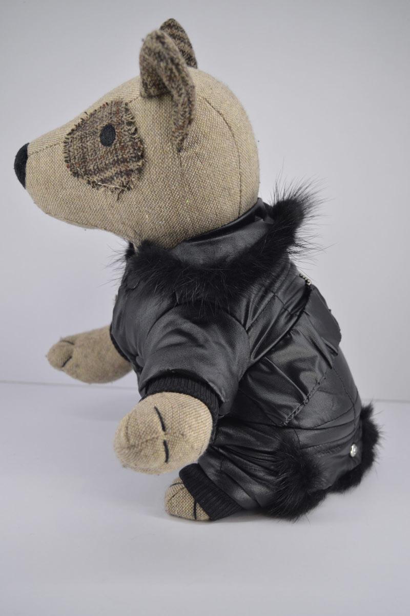 Alkalmi fekete műbőr kutya overál kőberakással 2