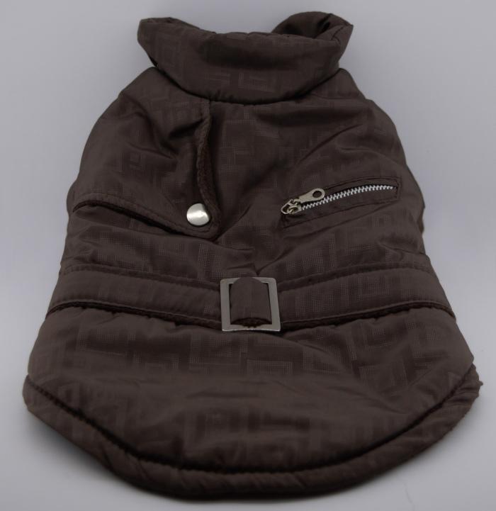 Bélelt barna téli kutyakabát 4