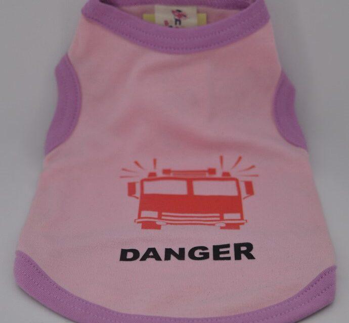 Danger feliratos rózsaszín kutya póló 1