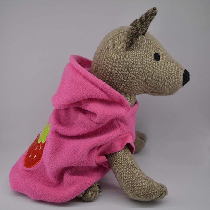 Eper mintás pink kutyapulóver kapucnival 1