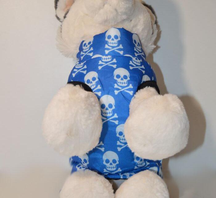 Halálfej mintás kék kutyamellény 3