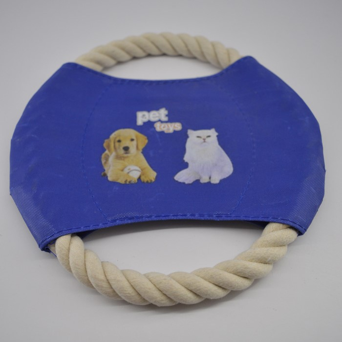 Kék kötélből készült frizbi kutya játék