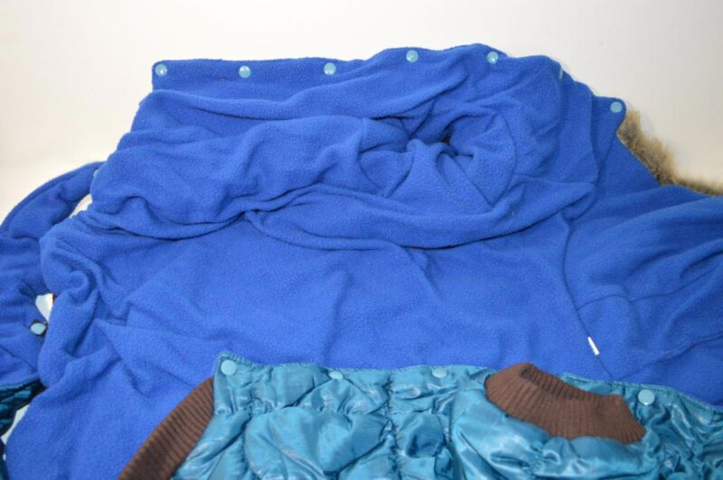 Kék pufi téli kutya overál golden retriverre 4