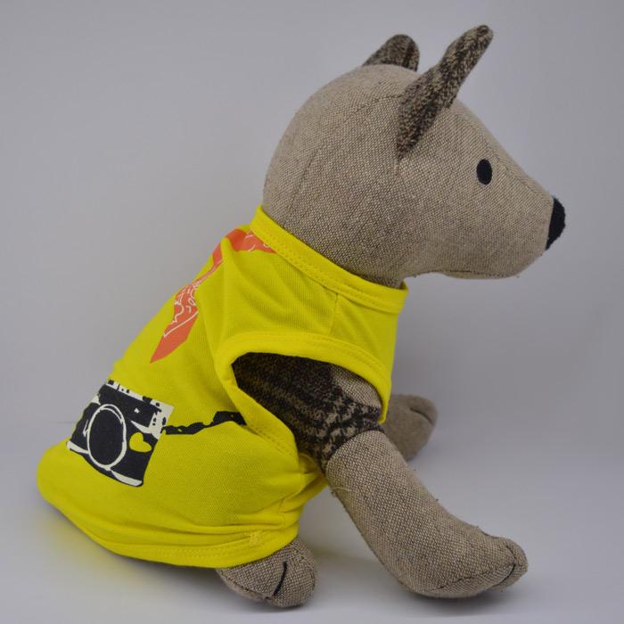 Kendő mintás citrom kutya póló 3