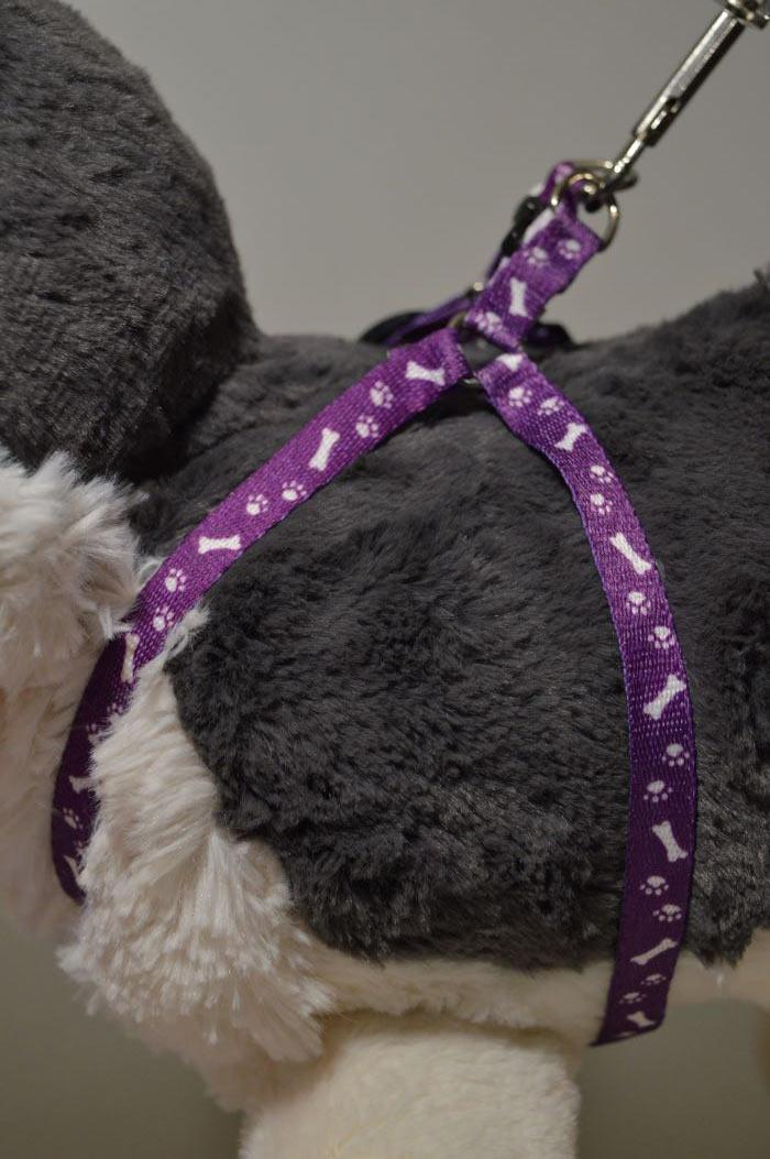 Lila csont mintás kutyahám pórázzal 1