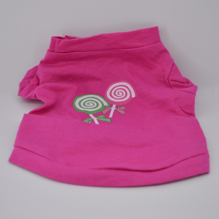 Nyalóka mintás pink kutya póló 1