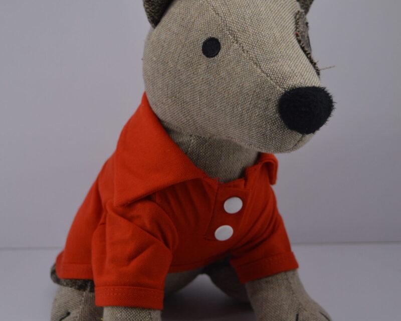 Piros gombos galléros kutya póló 1