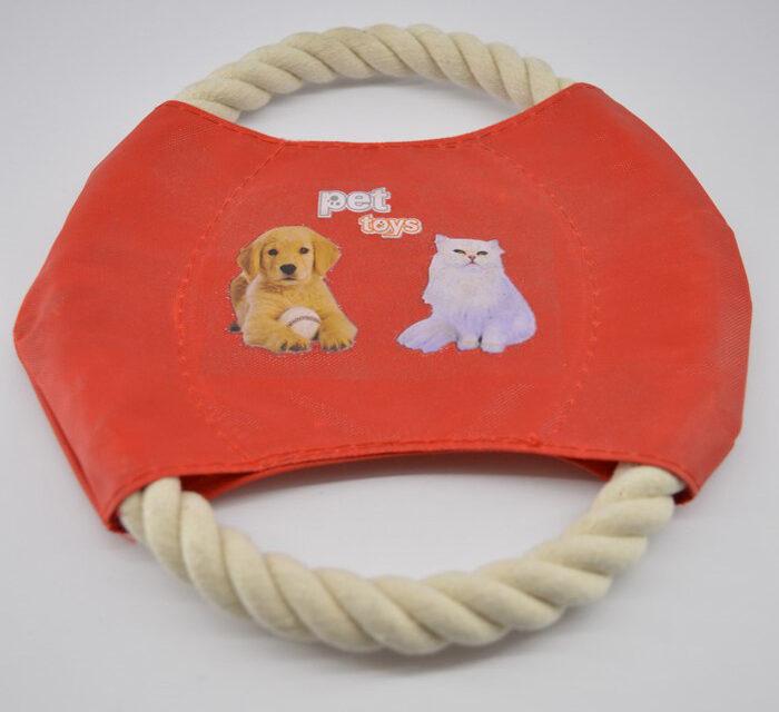 Piros kötélből készült frizbi kutya játék 1